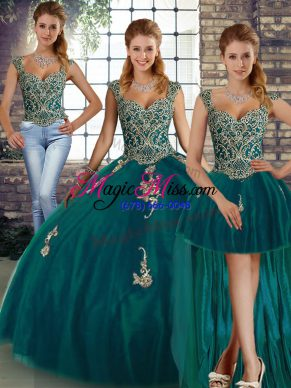 Tulle Straps Sleeveless Lace Up Beading and Appliques Sweet 16 Dresses in Peacock Green
