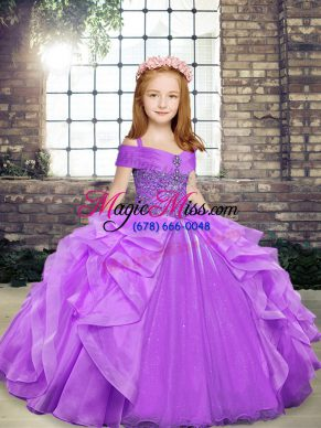 Lavender Organza Lace Up Child Pageant Dress Sleeveless Floor Length Beading and Ruffles
