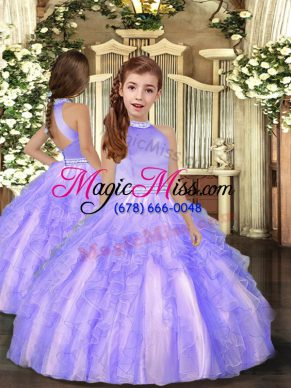 Hot Selling Lavender Backless High-neck Beading and Ruffles Child Pageant Dress Tulle Sleeveless