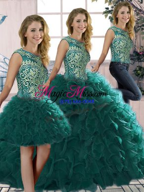 Best Peacock Green Organza Lace Up 15th Birthday Dress Sleeveless Floor Length Beading and Ruffles