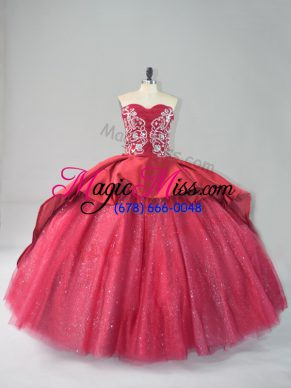 Court Train Ball Gowns Quinceanera Dresses Wine Red Sweetheart Satin and Tulle Sleeveless Lace Up