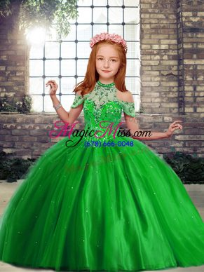 Ball Gowns Tulle High-neck Sleeveless Beading Floor Length Lace Up Little Girls Pageant Dress