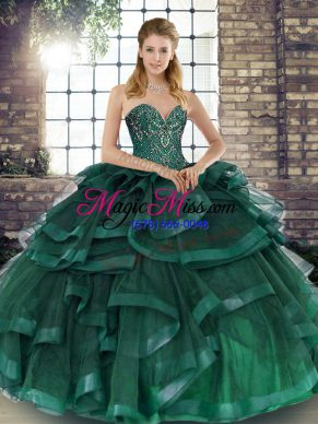 Peacock Green Ball Gowns Sweetheart Sleeveless Tulle Floor Length Lace Up Beading and Ruffles Quinceanera Gown