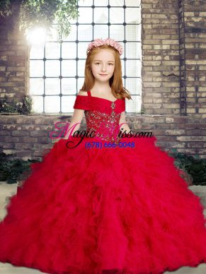 Latest Red Sleeveless Beading and Ruffles Floor Length Little Girl Pageant Gowns