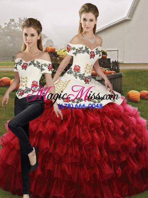 Off The Shoulder Sleeveless Sweet 16 Dresses Floor Length Embroidery and Ruffled Layers Wine Red Organza
