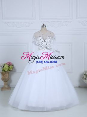 High Class White Lace Up Scoop Beading Wedding Dress Tulle Long Sleeves