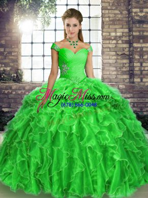 a346cfdbee7 Superior Green Organza Lace Up Sweet 16 Quinceanera Dress Sleeveless Brush  Train Beading and Ruffles