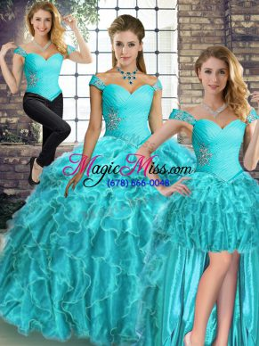 432c17fcf62 Amazing Organza Sleeveless Sweet 16 Dress Brush Train and Beading and  Ruffles