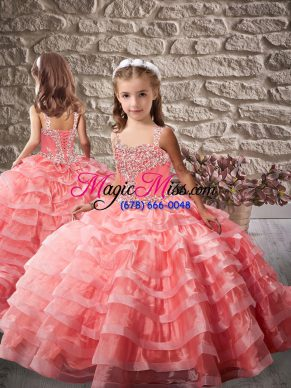 Stunning Organza Child Pageant Dress Brush Train and Beading and Ruffled Layers