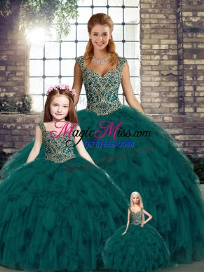 Peacock Green Lace Up Vestidos de Quinceanera Beading and Ruffles Sleeveless Floor Length
