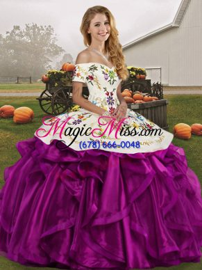 Lovely White And Purple Off The Shoulder Neckline Embroidery and Ruffles Sweet 16 Dress Sleeveless Lace Up