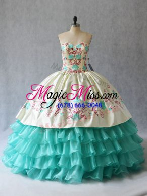 Fashionable Aqua Blue Sweetheart Lace Up Embroidery and Ruffled Layers Quince Ball Gowns Sleeveless