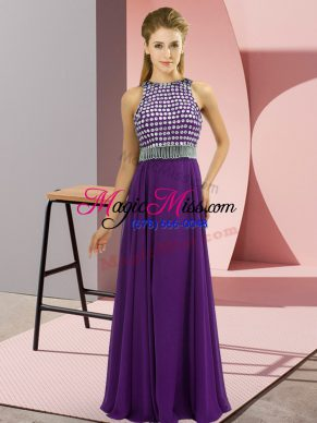 Amazing Empire Dress for Prom Purple Scoop Chiffon Sleeveless Floor Length Side Zipper