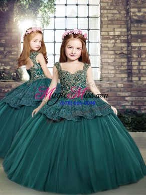 Enchanting Beading and Appliques Kids Formal Wear Teal Side Zipper Sleeveless Floor Length