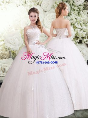 White Sleeveless Tulle Lace Up Wedding Dress for Wedding Party
