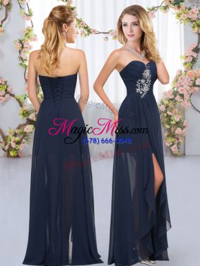 Captivating Navy Blue Sleeveless Beading and Ruffles Floor Length Quinceanera Court Dresses