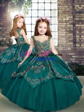 Sleeveless Beading and Embroidery Lace Up Pageant Gowns For Girls