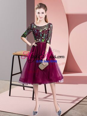 49f729cd670 Latest Scoop Half Sleeves Quinceanera Court of Honor Dress Knee Length  Embroidery Fuchsia Tulle