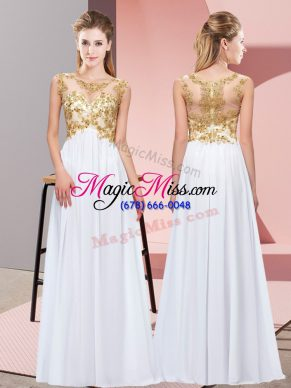 Gorgeous White Chiffon Zipper Damas Dress Sleeveless Floor Length Beading and Appliques