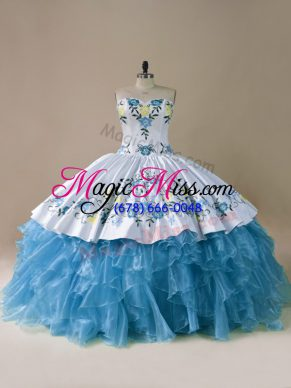 Enchanting Blue Sleeveless Organza Lace Up Sweet 16 Quinceanera Dress for Sweet 16 and Quinceanera