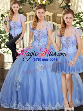 Custom Made Strapless Sleeveless Lace Up Quinceanera Gowns Light Blue Tulle
