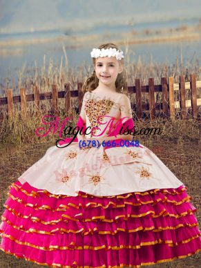 New Style Floor Length Ball Gowns Sleeveless Fuchsia Kids Formal Wear Lace Up