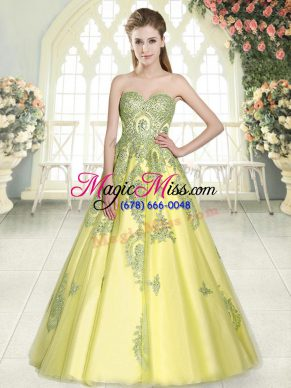 Yellow Green Sleeveless Appliques Floor Length Prom Dress