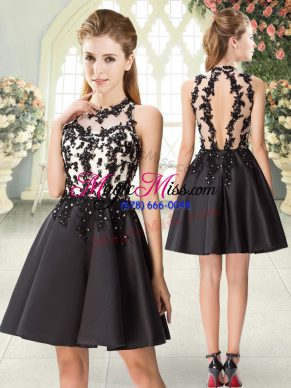 Black Satin Backless Prom Gown Sleeveless Mini Length Beading and Appliques