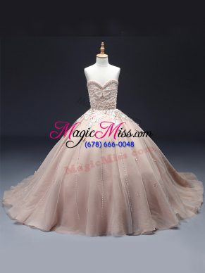Excellent Pink Ball Gowns Sweetheart Sleeveless Tulle Floor Length Lace Up Beading and Appliques Pageant Dresses