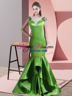 Pretty Scoop Sleeveless Evening Dress Sweep Train Beading and Lace and Appliques Green Satin