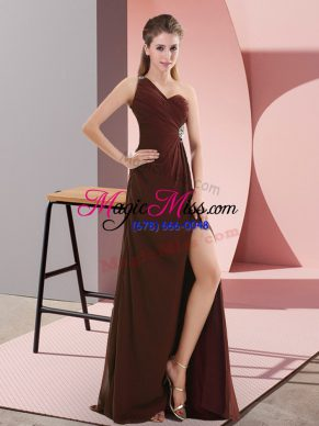 Top Selling Burgundy One Shoulder Backless Beading and Ruching Prom Dress Sweep Train Sleeveless
