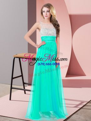 Comfortable Turquoise Prom and Party with Sequins Scoop Sleeveless Side Zipper