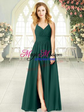 Attractive Peacock Green Empire Halter Top Sleeveless Chiffon Floor Length Zipper Ruching