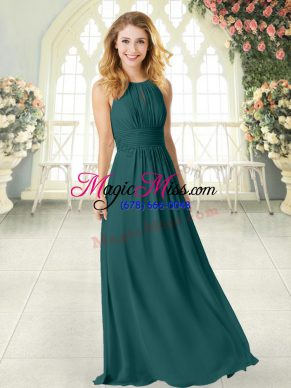 Custom Design Peacock Green Zipper Scoop Ruching Prom Dresses Chiffon Sleeveless