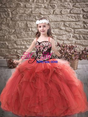 Gorgeous Red Ball Gowns Embroidery and Ruffles Girls Pageant Dresses Lace Up Tulle Sleeveless Floor Length