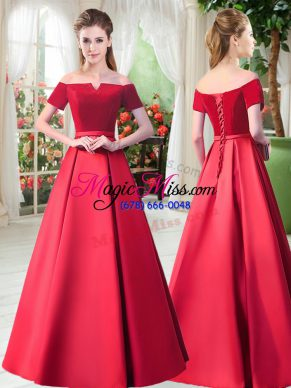 Superior Floor Length Lace Up Evening Gowns Red for Prom and Party with Belt