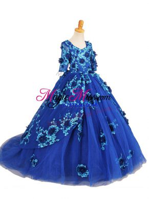 Blue Tulle Zipper V-neck Half Sleeves Child Pageant Dress Brush Train Beading and Appliques