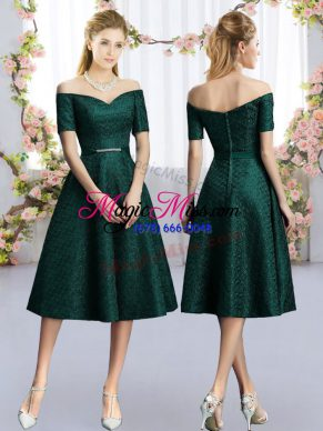 Excellent Dark Green Lace Bridesmaid Dresses Short Sleeves Tea Length Belt