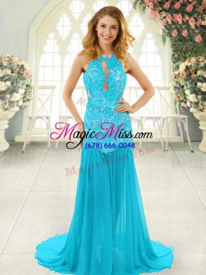 Aqua Blue Sleeveless Chiffon Brush Train Backless Dress for Prom for Prom and Party