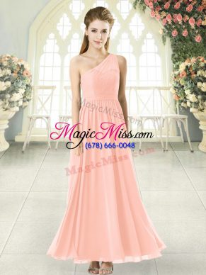 Fitting Pink Chiffon Side Zipper One Shoulder Sleeveless Ankle Length Prom Evening Gown Lace