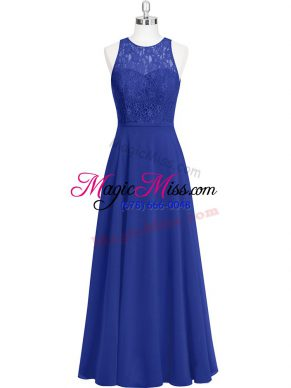 Best Selling Floor Length Zipper Evening Gowns Royal Blue for Prom and Party with Lace