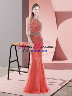 Excellent Red Backless Halter Top Beading Evening Dress Tulle Sleeveless Sweep Train