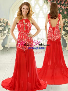 Cheap Red Chiffon Backless Scoop Sleeveless Dress for Prom Brush Train Lace