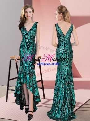 Classical Green Sequined Zipper Prom Party Dress Sleeveless High Low Ruching