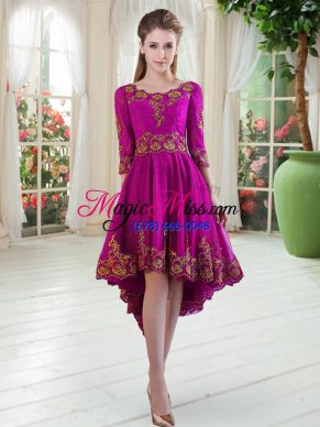 Pretty Purple Scoop Neckline Embroidery Prom Party Dress Long Sleeves Lace Up