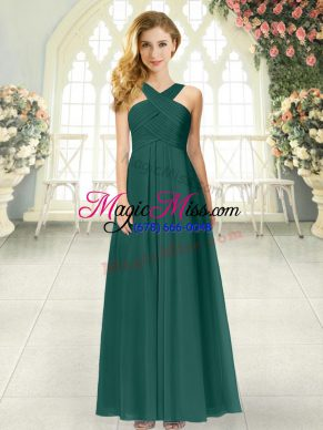 Floor Length Peacock Green Prom Dress Chiffon Sleeveless Ruching