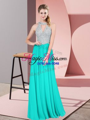 Turquoise Prom Party Dress Prom and Party with Beading and Lace Halter Top Sleeveless Backless
