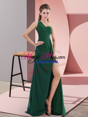 Sweep Train Empire Prom Dress Green One Shoulder Satin Sleeveless Backless