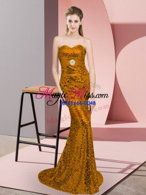 Dazzling Sweetheart Sleeveless Sequined Dress for Prom Sequins Sweep Train Zipper