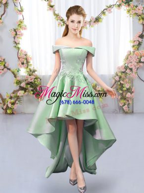 Designer High Low Green Vestidos de Damas Satin Sleeveless Appliques